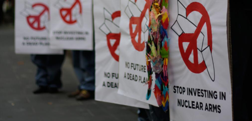 Protest gegen Finanzierung von Atomwaffen, Schottland. Foto: Tim Wright / ICAN Australia